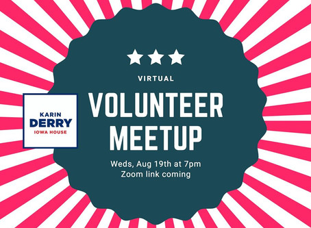 Volunteer Meet-up, Aug. 19, 7pm
