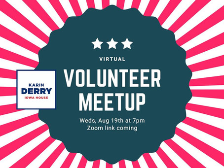 Volunteer Meet-up, Aug. 19, 7pm