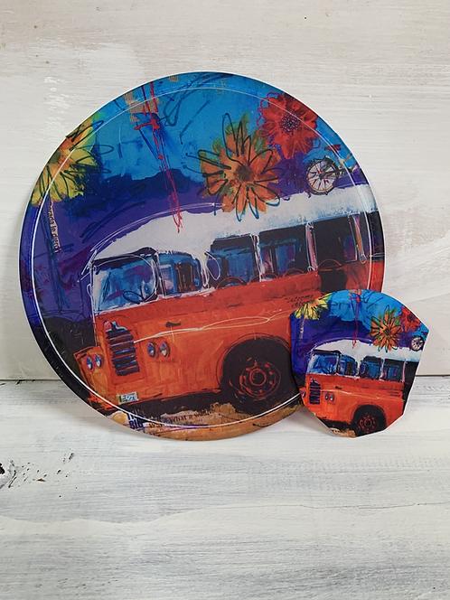 Abanico plegable Bus Naranja