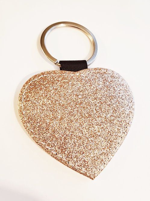 Champagne Gold Heart Sparkly Key Chain Sublimation Blank