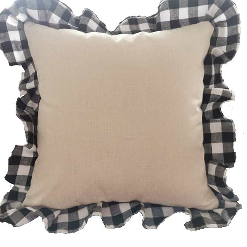 Farmhouse Linen Buffalo Ruffle Print Pillow Cover Sublimation Blank