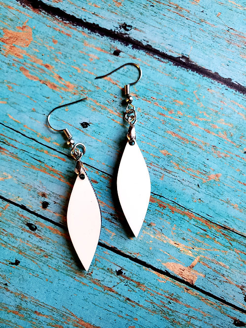 Pair of Long Leaf Shape Sublimation Blank MDF Earrings with Hanging Hardware