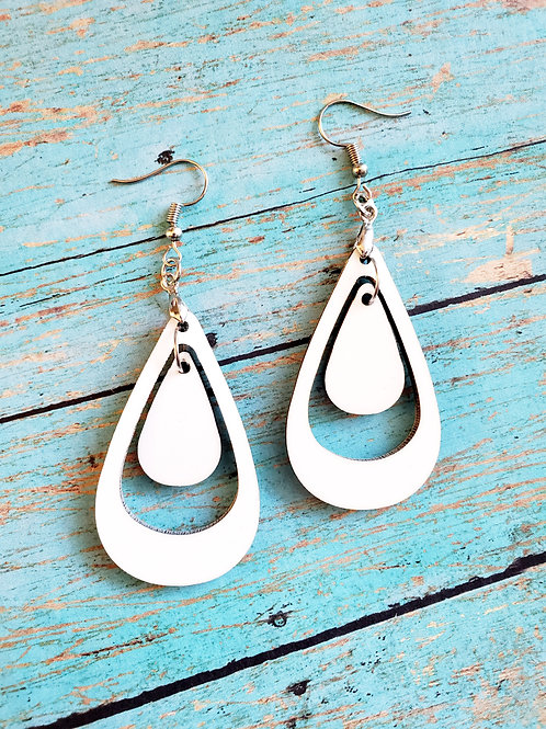 Pair of 2-sided Double Teardrop Shape MDF Earring Blanks with Hanging Hooks