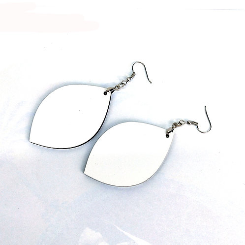 Pair of Leaf Shape Sublimation Blank MDF Earrings with Hanging Hardware