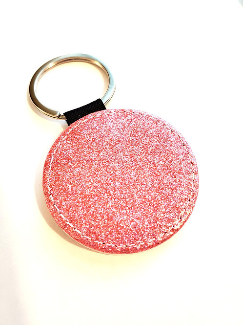 Round Pink Sparkly Key Chain Sublimation Blank