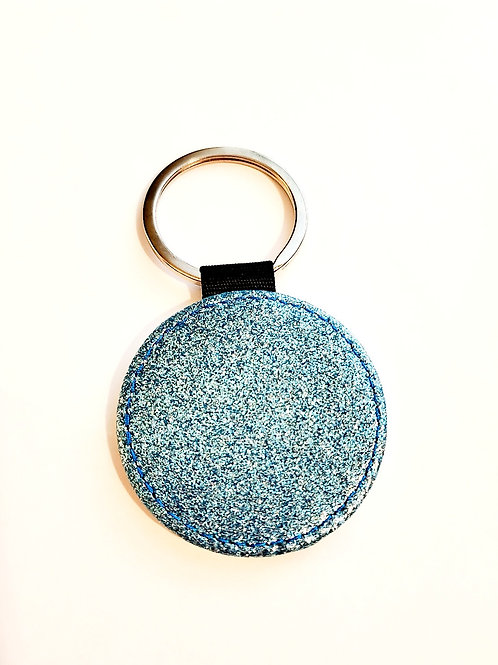Round Blue Sparkly Key chain Sublimation Blank