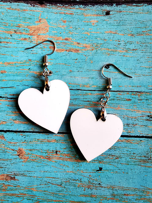 Pair of Heart Shaped Sublimation Blank MDF Earrings with Hanging Hardware