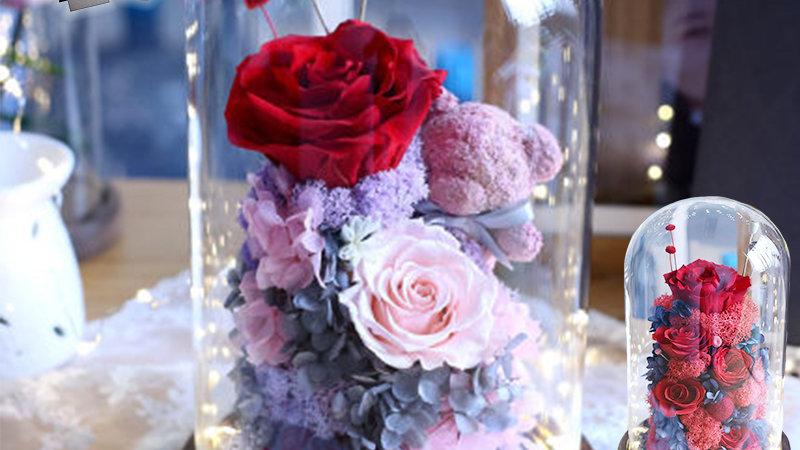 ブリザードフラワー ガラスドーム ギフト おしゃれ ブリザードフラワー クマ 誕生日 プレゼント 枯れない花 ブリザード フラワー アレンジメント 赤バラ 可愛