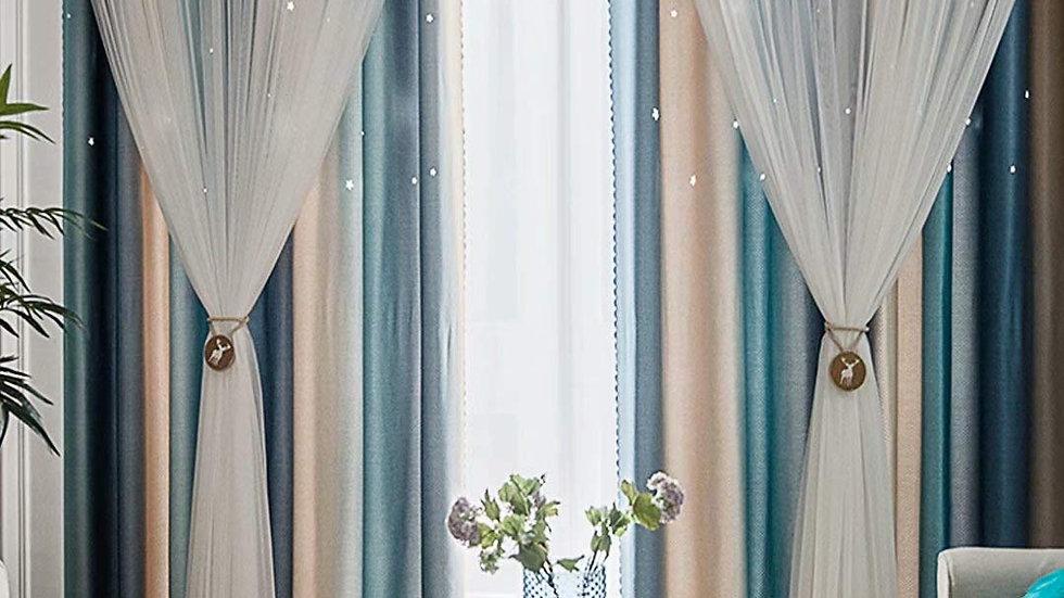 姫系カーテン 遮光 カーテン 姫 二重カーテン レース おしゃれ インテリア 遮光率90%【CT20003】
