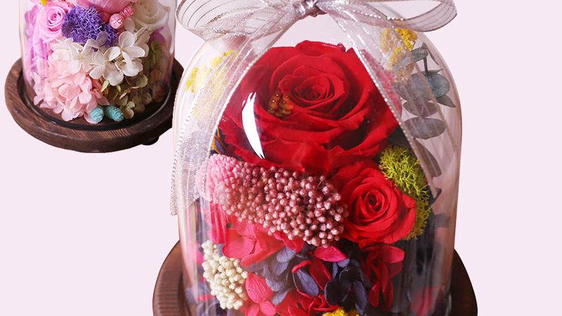 ブリザードフラワー ガラスドーム ギフト おしゃれ ブリザードフラワー 誕生日 プレゼント 枯れない花 ブリザード フラワー アレンジメント 可愛い ロマンチッ