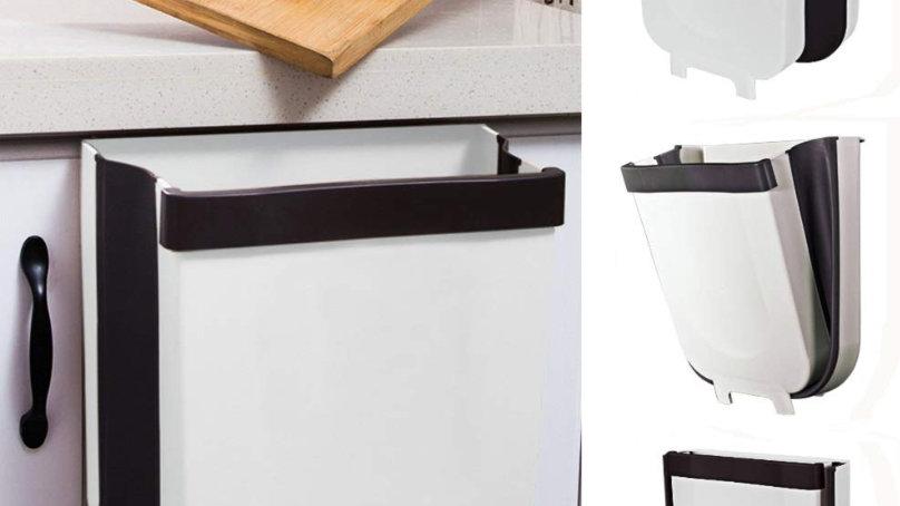 壁掛けゴミ箱 折りたたみ キッチン ぶら下げ 折り畳み式荷物収納 ゴミ箱 キッチンゴミ箱 生ゴミ 携帯ゴミ箱 ゴミ袋ホルダー付き ごみ箱 キッチン/リビングルー