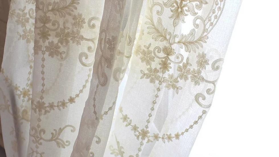 刺繍カーテン レースカーテン オーダーカーテン カーテン 刺繍 オーダーサイズ可 おしゃれ 花柄 ヨーロッパ ベージュ 薄手 田園風 柔らか 高級感 フック付き