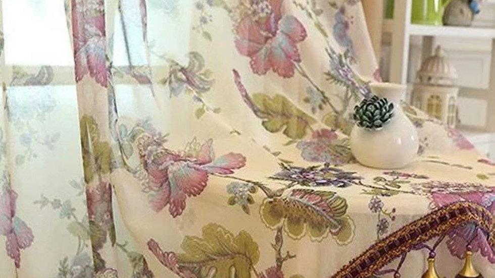 レースカーテン 花柄 姫系 フリンジ付き おしゃれ 高級感 アメリカンカントリー オーダーサイズ可 エレガント フック付き リビング マンション 上品 装飾 掃