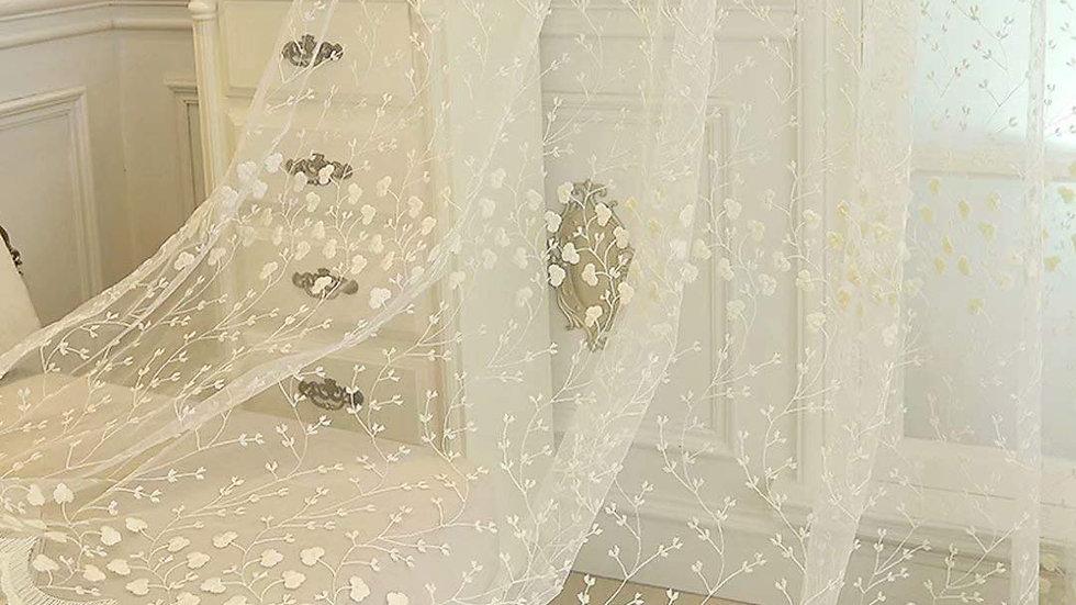 姫系レースカーテン おしゃれ 刺繍 可愛い 花柄 薄手 遮像 ア シンプル 通気性が良く 洗える 居間 リビング ホワイト【CT20012】