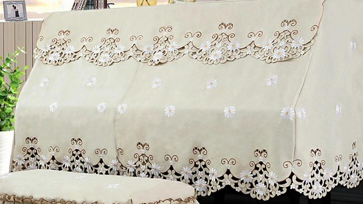 ピアノカバー 防塵カバー 花 刺繍 可愛い 高級 ピアノ カバー 上品 厚手 ヨーロッパ風 人気 直立型 ピアノカバー おしゃれ ★二人掛けイスカバー:78c