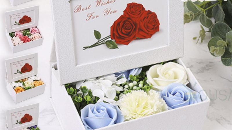 ソープフラワーギフト ボックス 写真立て シャボンフラワー フラワーソープ ギフト 誕生日プレゼント 枯れないお花 おしゃれ フラワーアレンジ 女性 クリスマス