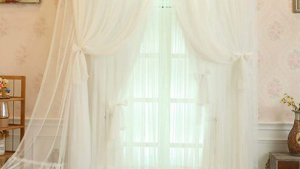 姫系カーテン 遮光 カーテン 姫 二重カーテン レース おしゃれ インテリア 遮光率85%【CT20005】