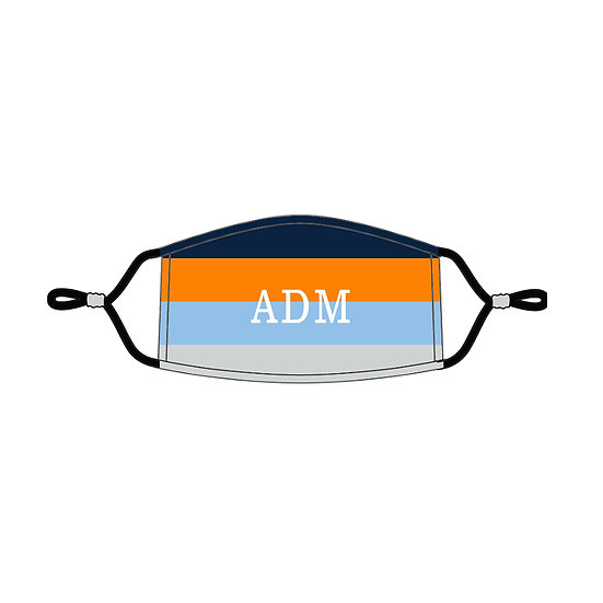 Navy Orange Stripe Personalized Kids' Adjustable Mask