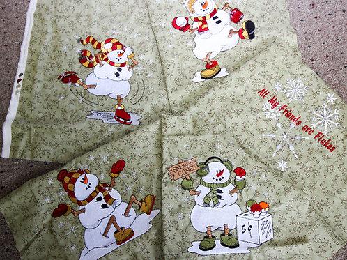 """10"""" Snowmen Embroidered Blocks-5 Pieces"""