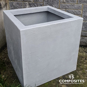 FIBREGLASS SQUARE FLOWER POT GRAY RAL 70