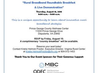 "Virginia Rural Center to Host ""Rural Broadband Roundtable Breakfast & Live Demonstration&qu"