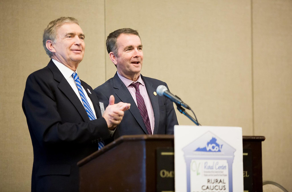 Sen. Emmett Hanger introduces Gov. Ralph Northam at the Rural Caucus Reception and Dinner