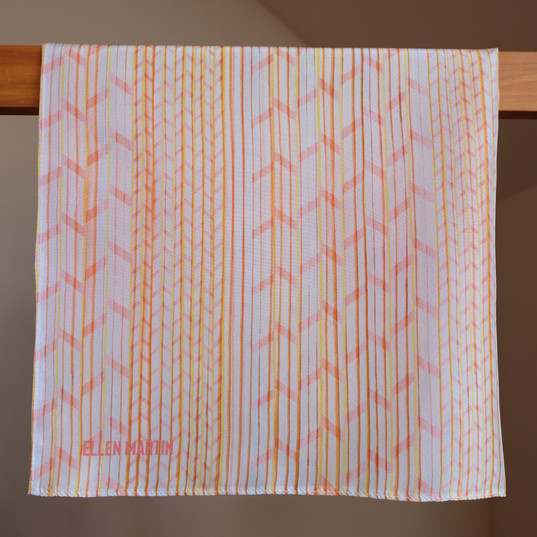 Pleat Printed Textile Silk Scarves