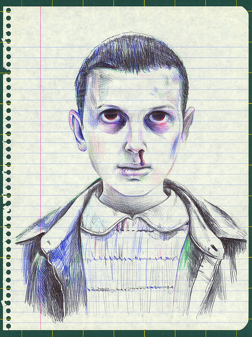 Eleven from Stranger Things - ballpoint pen drawing