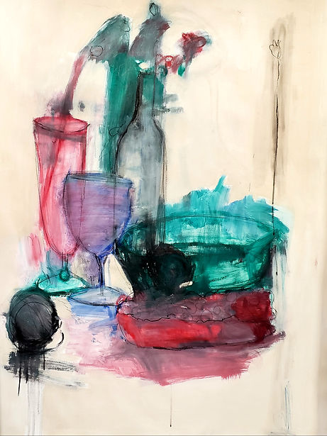 Still Life with Wine Glass 50x38 Oil on