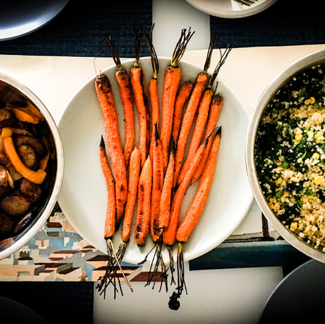 Homemade Brunch of Sausages, Carrots, and Quinoa