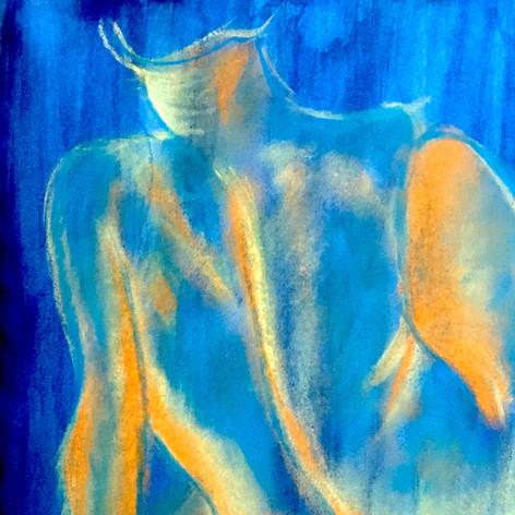 Woman on Blue