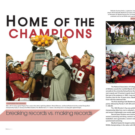 Stanford University Yearbook: Athletics Section Spread (2 pages)
