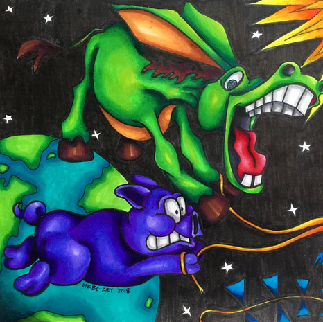 """""""A purple pig and a green donkey flew a kite in the middle of the night and ended up sunburnt."""""""