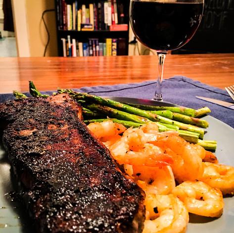 Homemade Steak, Shrimp, and Asparagus