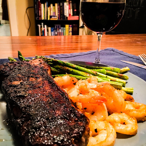 Homemade Steak, Shrimp, and Asparagus