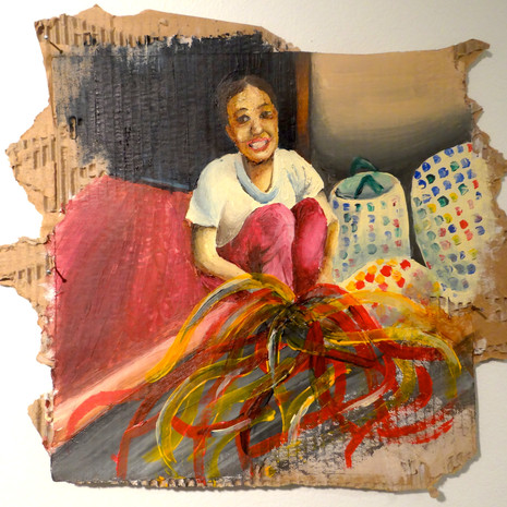 """3/2013; approx. 12""""x12""""; acrylic on recycled cardboard  NOT FOR SALE."""