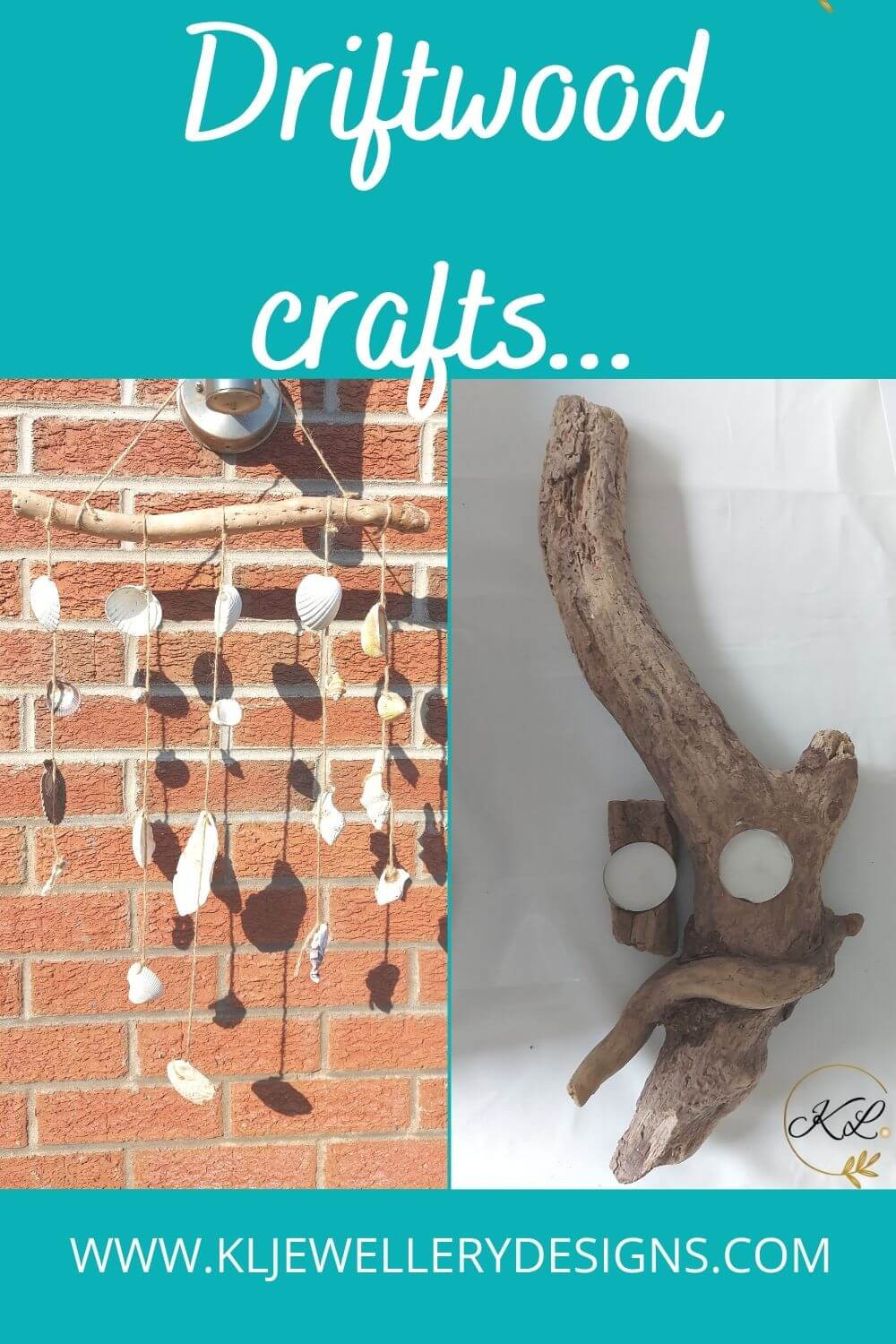 Easy to make driftwood and shell windchime and driftwood tealight holder, plus other beach crafts.