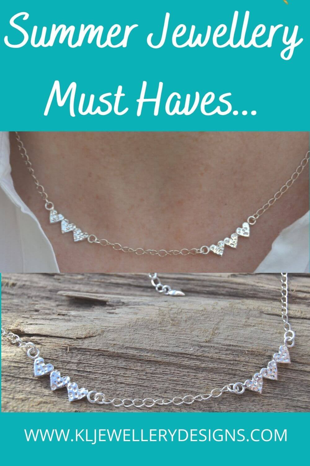 Handmade silver heart necklace perfect for summer!