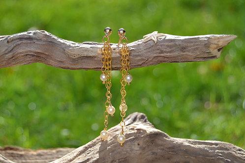 Gold Waterfall Pearl Earrings