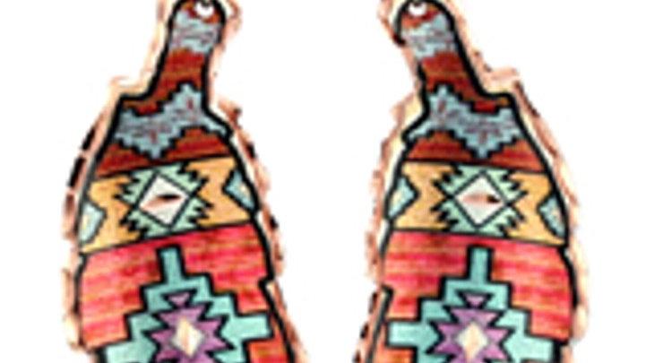 Handmade unique all copper earrings Aztec Pattern