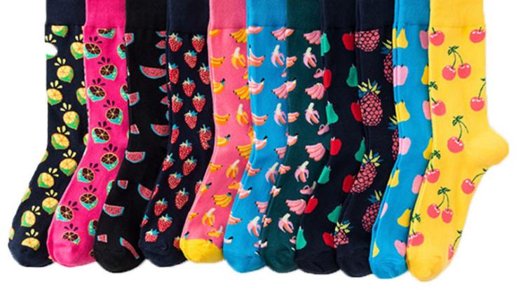 Happy tube socks fruit banana women's socks