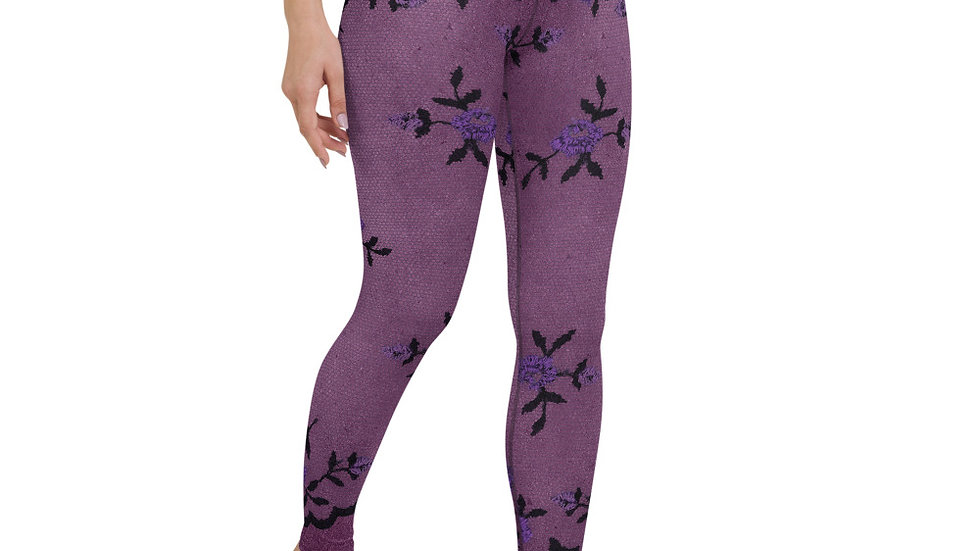 High Waist Purple Floral Lace Printed Leggings