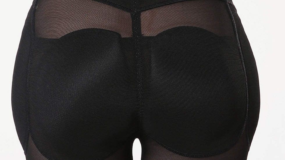 Mesh Insert Shapewear Shorts With Detachable Pads