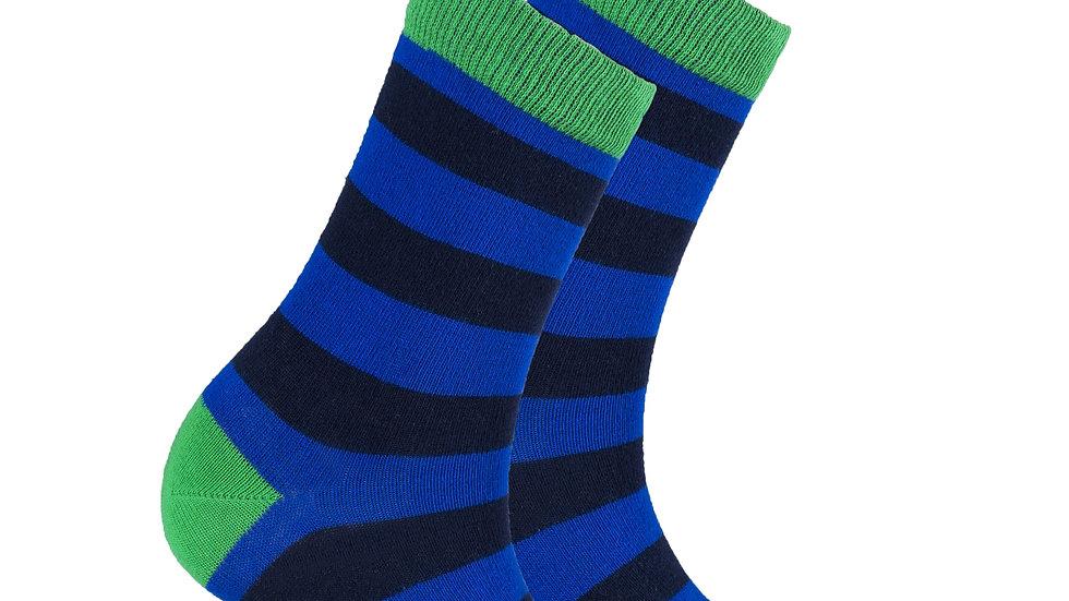 Women's Navy Emerald Stripe Socks