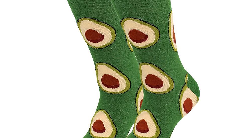 Cozy Designer Fruits Food Socks - Avocado - for Women
