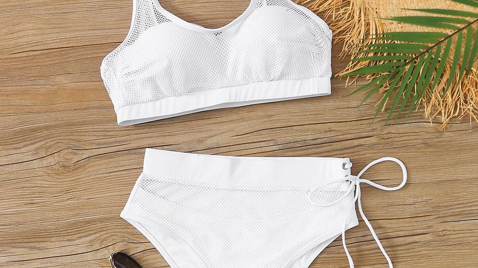 Mesh Overlay Underwire High Waisted Bikini Swimsuit