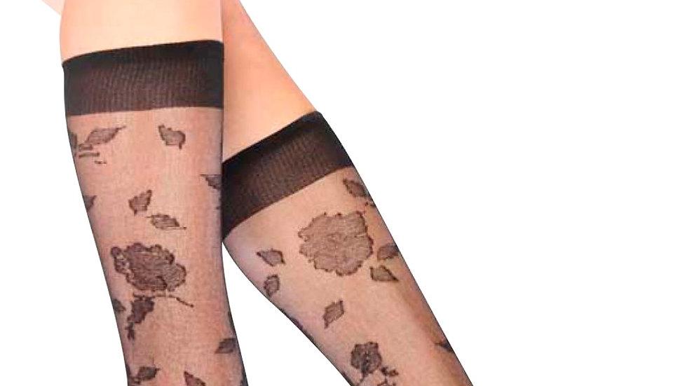 Garden Patterned Knee-High Women's Socks Black