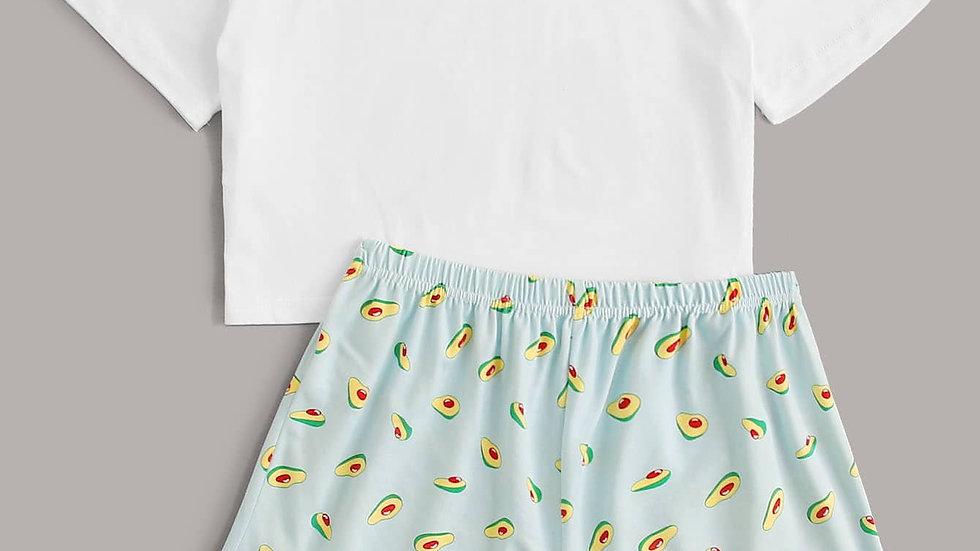 Letter & Avocado Print PJ Set