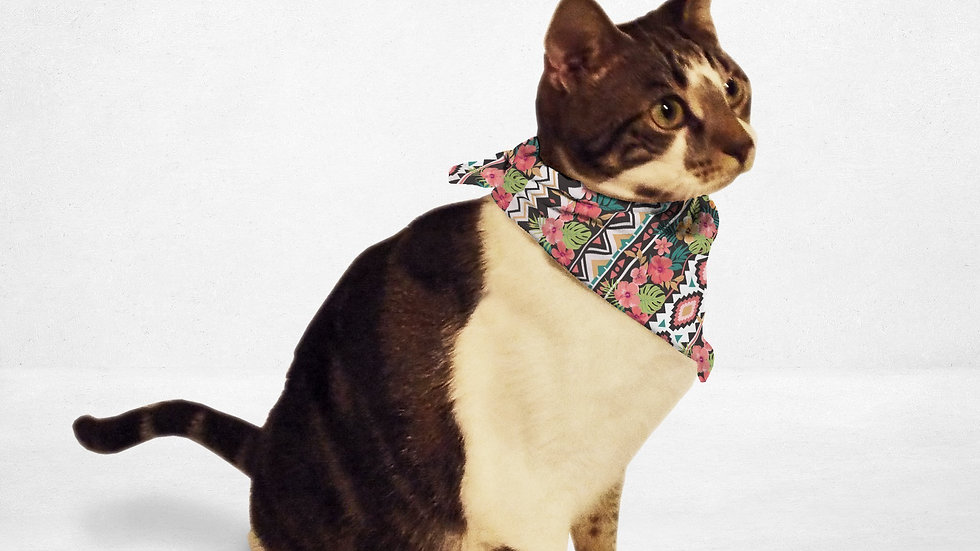Ethnic Tropical Flowers Dog Bandana pictured w/ new species of cat-dog