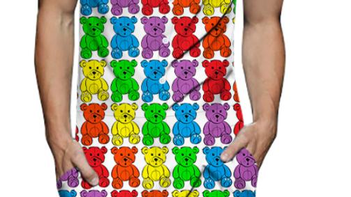 LSD TAB Paper Sheet Art Woven Party Romper Rainbow Dancing Bears